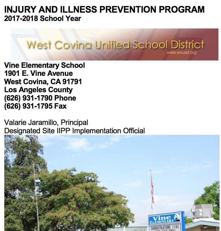 Injury and Illness Prevention Program report
