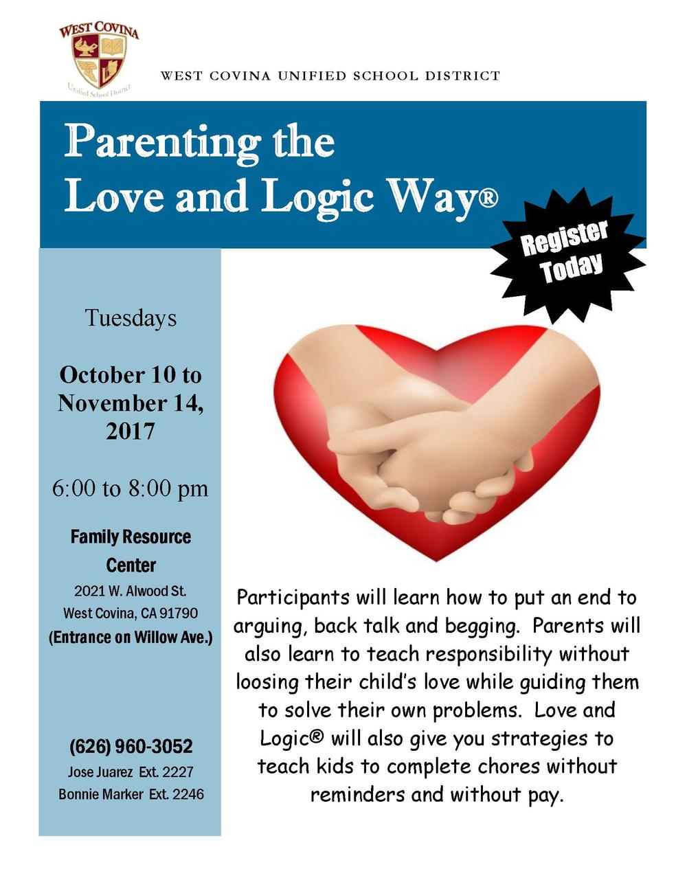 Parenting the the Love and Logic Way Register today, October 10
